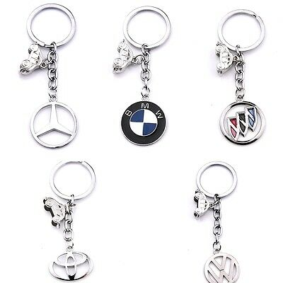 Fashion 3D Hollow Out Car Logo Metal Key Chain Holder Silver Key Rings