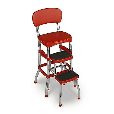 Red Retro Step Stool Counter Chair Padded Vintage Style Kitchen Pantry Ladder