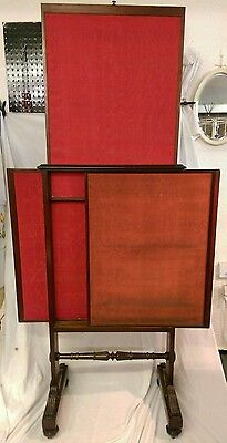 Antique Mahogany Framed Three Part Dressing Screen c.1840