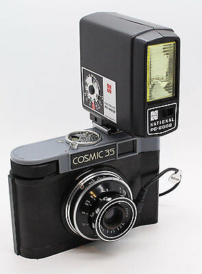 LOMO Cosmic 35 Camera 35mm Film with ever-ready case and flash Made in USSR VGC
