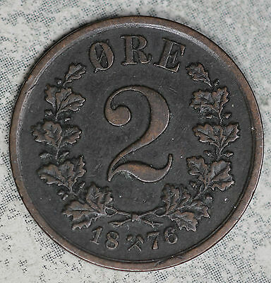 Nice Extra Fine Norway 1876 2 Ore Copper Coin!!