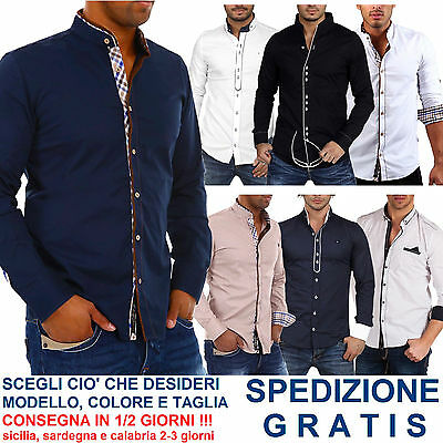 Camicia Uomo Colletto alla Coreana a Manica Lunga Elegante Slim Fit Fashion Moda