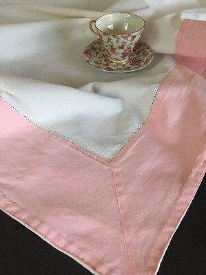Vintage Heavy Cotton White & Pink Tablecloth