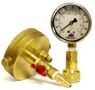 NNI Fire Hydrant Quick connect Static Pressure Gauge with Draincock 100 Psi