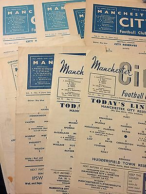 Selection of Manchester City Reserve Programmes from 1956