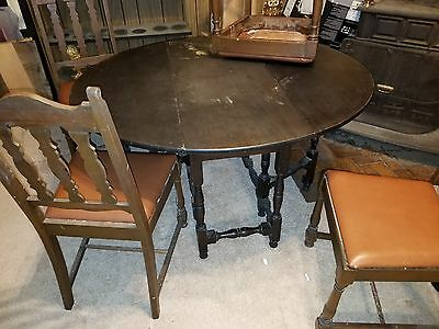 antique tavern table with 4 chairs
