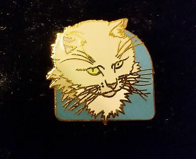 Vintage Cat Pin Brooch Enameled Blue White with gold details by Pinnacle Designs