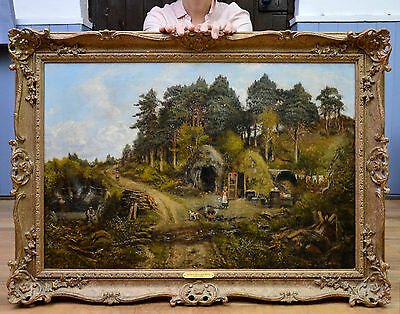 Large Fine 19th Century Landscape Oil Painting of Victorian Family in Woodland