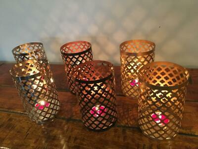 PAIR OF TEA LIGHT CANDLE HOLDERS T LIGHT NICKEL,GOLD or COPPER BLACK FINISH TL-6