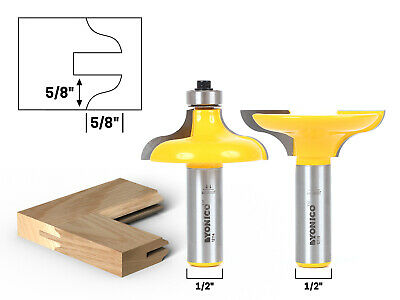 """Large Ogee Entry Door Profile Router Bit Set - 1/2"""" Shank - Yonico 12222"""