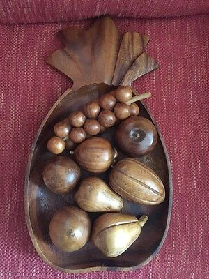 Vintage Monkey Pod Hand Carved Wooden Fruit  Pineapple Tray Set Philippines Wood