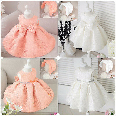 Elegant Newborn Baby Girls Baptism Dress Christening Birthday Party Gown 3-24M