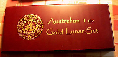 Australia Lunar 1 oz 12 Gold Coins Set 1996-2007 in  case excellent australian