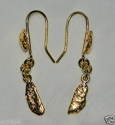GOLD NUGGET EARRINGS 18ct Solid Gold with 23k Gold Nuggets