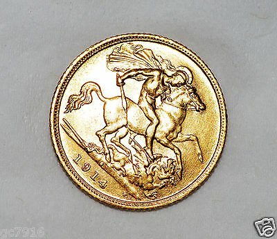 GOLD HALF SOVEREIGN 1914 (S) George V (Very Fine)