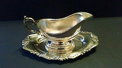 Vintage 2-pc Set Ornate Sheridan Silverplate Gravy Boat With Underplate