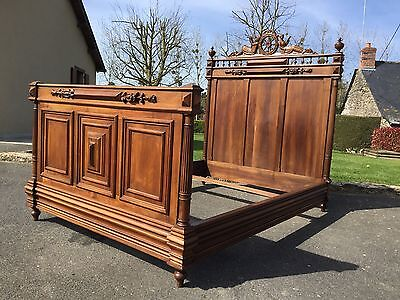 Antique French Carved Breton Marriage Bed Double Solid Oak