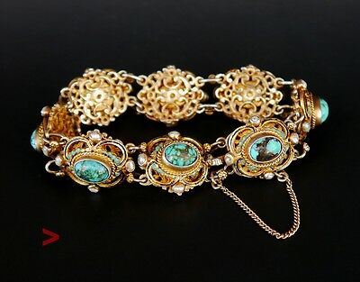 Antique Bohemian Austro- Hungarian Bracelet 15ct Turquoise Seed Pearls