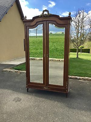 Antique French Wardrobe Armoire With Double Mirrored Doors & Brass Ormolu Mounts