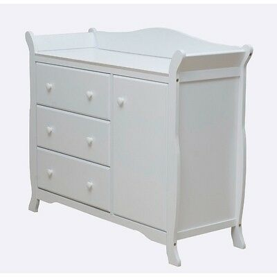 Dream On Me Back Bay Chest Combo in White Transitional Baby Dresser