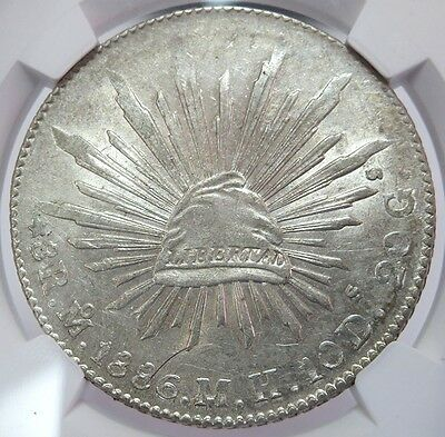 1886 Mo MH SILVER MEXICO 8 REALES CAP & RAYS COIN NGC ABOUT UNCIRCULATED 58