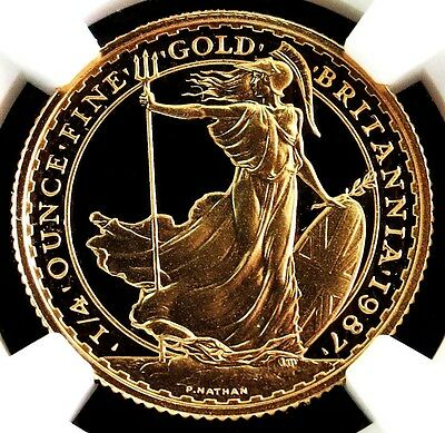 1987 Gold Great Britain 25 Pounds Britannia Coin Ngc Proof 70 Ultra Cameo