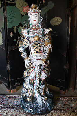 """Elaborate Late 19th - Early 20th Century Porcelain Asian Warrior Statue; 44"""""""