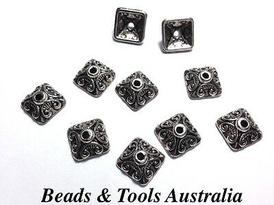 10pc x BEAD CAP Bead Caps 10mm Silver Coloured - Square Bead Caps - ONLY 1 PACK