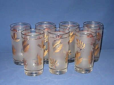 7 Vtg High Ball Drinking Glasses Frosted Gold Leaves Libbey 1950s Mid Century