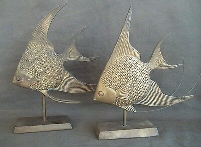 Art Display of Angel Fish Vintage Large and Heavy w Original Patina Male Female