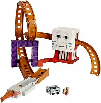 Kids Fun Fast Hot Wheels Roller Coaster Minecraft Ghast Figure Track Set