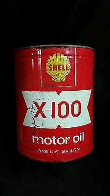 Shell X-100 Motor Oil Can 1 Gallon Red Yellow USA Vintage