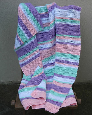 New Crochet Crocheted Striped Baby or Lap Rug / Throw / Blanket / Wrap