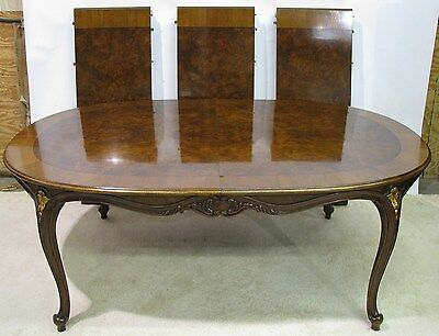 Karges Louis XV Style Dining Table With Dramatic Burled Walnut Veneer & 3 Leaves