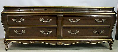 Exceptional Karges French Bombe Shaped Louis XV Style Dresser With Gilt Accents