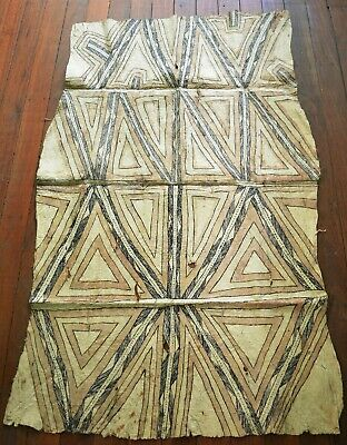 Rare Antique Museum Quality Traditional Tapa Bark Cloth From The  Omie Tribe Png