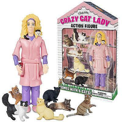 Crazy Cat Lady Action Figure with 6 Cats...Retro...Kitsch...Novelty Gift