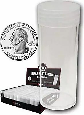 "Box of 100 BCW Coin Tubes - Quarter With "" Original Box "" (#CS24)"
