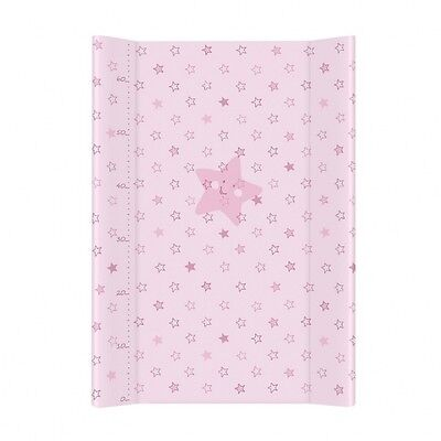 BABY COT CHANGING MAT PADDED HARD BASE 70X50cm With Scale - Pink Stars