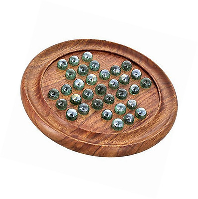 Games Solitaire Board in Wood with Glass Marbles, travel game, boardgame
