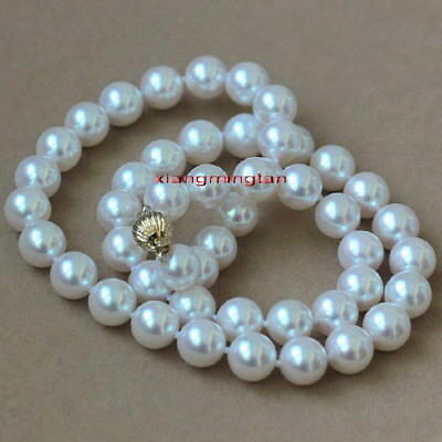 """AAAAA real round 18"""" 9-10mm natural south sea white pearl necklace 14K gold"""