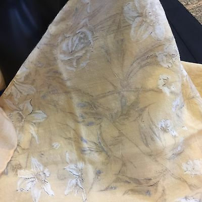 Very Fine Wool 'Jaymar' Scarf,Dull Gold with a Delicate Floral print,1960-1980s