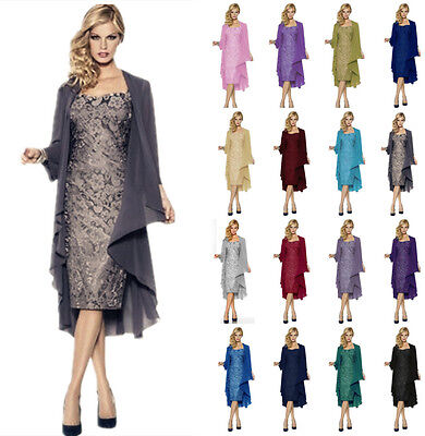 Mother of The Bride Lace Dress Chiffon and Jacket Formal Evening Dress Ball Gown