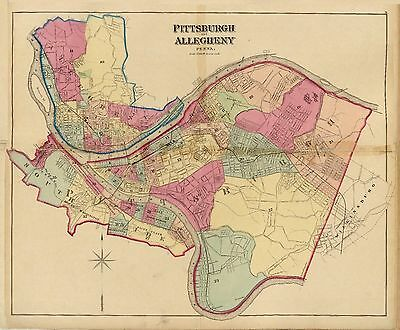 1877 map Upper Ohio River land ownership Pittsburgh Allegheny Pennsylvania 4