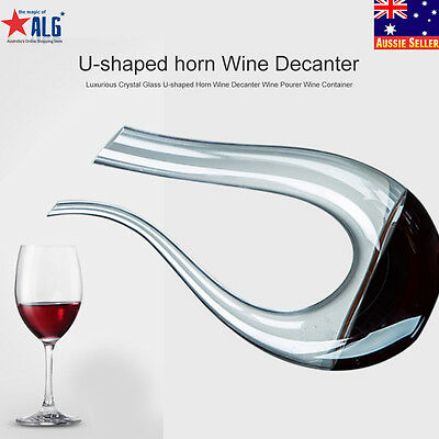 1.7L Fashion Crystal Glass U-shaped Horn Wine Decanter Pourer Wine Container