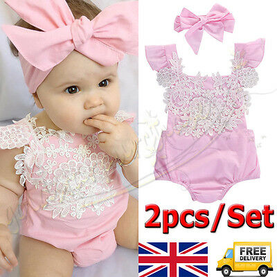 2pcs/Set Newborn Toddler Baby Girl Clothes Lace Floral Romper Bodysuit Outfits