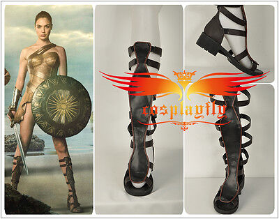 2017 Film Wonder Woman Diana Prince Bandage Sandals Boots Cosplay Shoes Custom