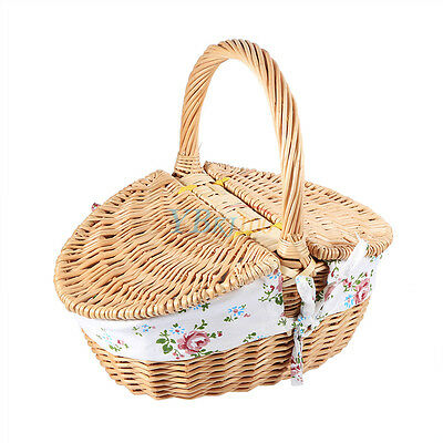 New Travel Wicker Hand Picnic Storage Basket Shopping Hamper With Lid and Handle