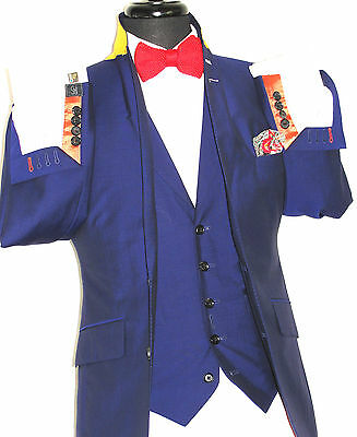 New Mens Pins & Stripes London Bespoke Petrol Blue/ Purple 3 Piece Suit 38S W32