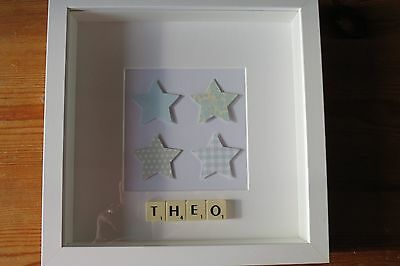Personalised picture frame STARS new baby /christening /nursery /scrabble tiles